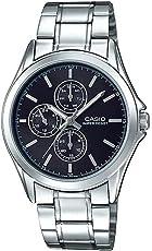 Casio 卡西欧 MTP-V302D-1A 男式多手不锈钢黑色表盘模拟手表