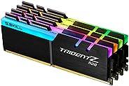 G.SKILL 芝奇 F4-3600C17Q-64GTZR 64 GB(16 GB x 4)Trident Z RGB系列DDR4 3600 MHz双通道内存套装 黑色 RGB LED灯条