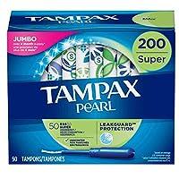 Tampax 带有塑料涂抹器的珍珠卫生棉条,强吸收性,200支,无气味(50支,4件装,200支)