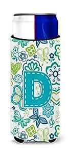 字母 D 花朵和蝴蝶蓝*饮料绝缘罐 CJ2006-DMUK