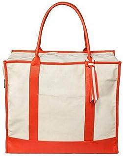 大号周末和日常旅行包,帆布浅白色珊瑚橙色。 Overnight Carry On Shoulder 旅行包,可扩展(48.26 x 43.18 x 22.86 厘米)大钱包