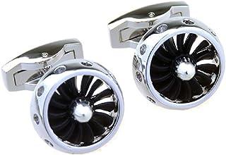 MRCUFF 喷气螺旋桨发动机风扇飞机一对袖扣,礼盒包装和抛光布