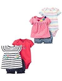 Carter's 女婴 6 件套紧身衣T恤和短裤套装