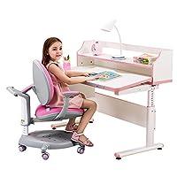 【送护眼灯+包安装】sihoo 西昊 人体工学儿童学习桌椅套装 儿童书桌可升降双层书架学生桌KD15+K15粉色