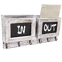 Honest Rustic 2-Slot 邮件分类整理盒 带 6 个金属钥匙挂钩 木头壁挂式信件收纳盒 收纳盒 黑板表面 玄关墙装饰 白色