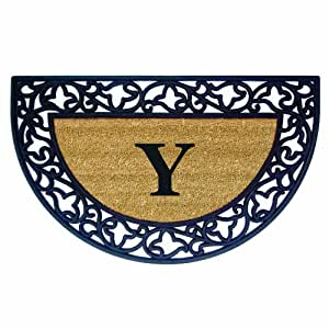 Creative Accents Acanthus Border with Half Round Rubber/Coir Doormat, 22 by 36-Inch, Monogrammed Y