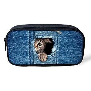 HUGS IDEA 可爱小猫印花铅笔袋儿童文具包 8.66x1.77x4.33 inches Kitty