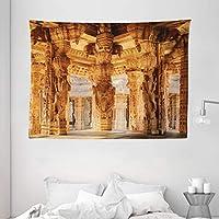 """Ambesonne 复古装饰挂毯,中世纪神圣月亮世界末端主题插图,壁挂适用于卧室客厅宿舍,灰色黑色 Multi 12 80"""" W By 60"""" L wid_26187_80x60"""
