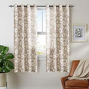 花卉印花窗帘亚麻纹理窗帘 grommet 适用于卧室2片装