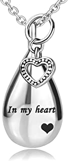 JMQJewelry 心形火葬骨灰项链 爱家人永远纪念吊坠 女士男士珠宝