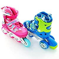 Mpoutik 儿童可调节直排轮滑 四轮滑 敞篷车 2 合 1 男孩女孩 Speed Roller Skates 鞋