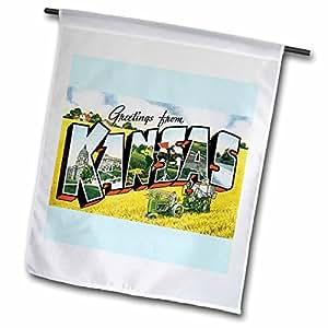 BLN 复古美国尺码城市与州明信片设计–greetings from KANSAS scenic 明信片 ON 蓝色背景–旗帜 12 x 18 inch Garden Flag