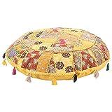 """My Crafts 印*安软垫套装饰客厅脚凳波西米亚椅套手工制作棉质传统圆顶凳舒适刺绣补丁工作地板垫 32"""""""