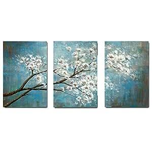 "LEEYIEN 手绘油画现代花卉帆布墙壁艺术抽象艺术品 拉伸和装裱 可悬挂 24""*16""*3pcs(blue)"