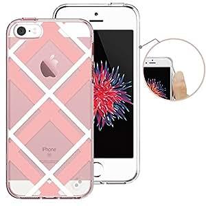 iPhone 5S 手机壳, iPhone SE 手机壳, ESR 硬质 PC 保护壳 skin COVER with 印花图案 + TPU 缓冲边缘适用于 iPhone 适用于 iPhone 5S / SE / 5 Pink White Squares