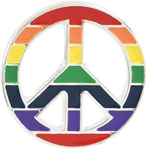 Gay Pride - 和平标志彩虹条纹别针 多种颜色 RE-RBP-35