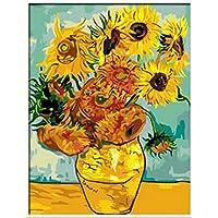 PaintingStudio DIY 绘画数字油画帆布花瓶带 12 朵向日葵花朵(无木框)40.64 x 50.8 厘米 多种颜色 Without wood frame Others