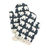 Yizi Zakka 棉质烤箱手套,耐热隔热垫片,烤箱手套,微波炉,1 对 北极熊 43235-158630