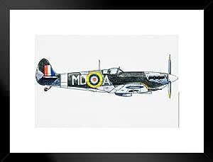 海报 Foundry 皇家* RAF Supermarine Spitfire WWII 艺术版 ProFrames 出品 哑光框架海报 26x20 inches 246417