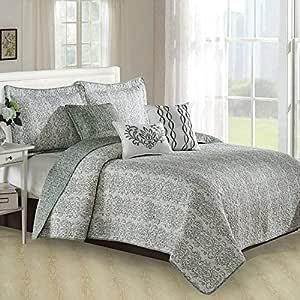 "Home Soft Things Mayfair 6 件套绗缝印花超细纤维被罩床罩 Mint Green/Lime/Mint Queen Coverlet: 90"" x 90"" BNFPMQ6QMFR"
