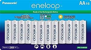 Panasonic 松下BK-3MCCA16BA Eneloop AA 2100循环镍氢电池预充电电池充电,16包