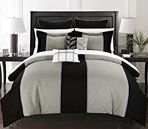 Chic Home 7-Piece Frontier Comforter Set with Shams and Decorative Pillows, King, Black