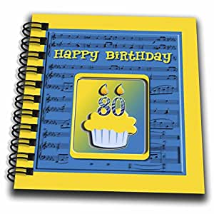 Beverly Turner Birthday Design - 80th Birthday Cupcake on Music Notes, Blue and Yellow - Drawing Book