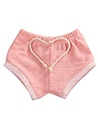男宝宝女孩条纹训练裤法式厚绒布短裤抽绳内衣