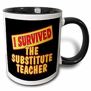 3drose dooni 设计生存标语–I survived THE substitute 教师生存骄傲和幽默设计–马克杯 黑色/白色 11 oz