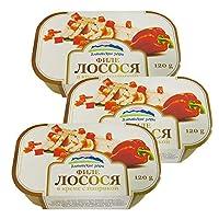 阿尔辰晞牌 红椒三文鱼罐头 120g*3罐 拉脱维亚原装进口 罐头 海味零食