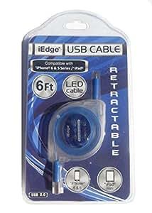 iEdge USB 可伸缩 LED 线,适用于 iPhone 6 和 5 和 iPad Mini 6 英尺 蓝色
