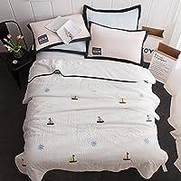 驯鹿家纺 韩式可水洗 水洗棉 毛巾绣夏被 薄被 空调被 帆船 白 150*200cm(供应商直送)