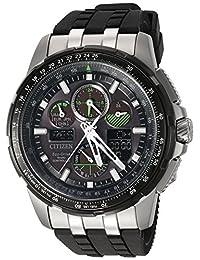 Citizen西铁城 JY8051-08E 男士Skyhawk A-T系列 黑色表盘双显光动能计时潜水腕表手表