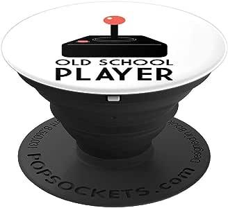 Old School Player 趣味游戏玩家礼物 PopSockets 手机和平板电脑抓握支架260027  黑色