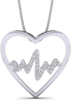 Fehu Jewel 1/6 克拉天然圆形钻石镀金银心形和音乐钻石吊坠