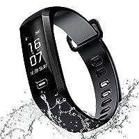 RAFERIAM 智能手环手表蓝牙无线智能健身腕表追踪器*心率监测器用于 iPhone Android(黑色)