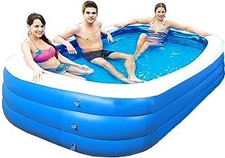 PictetW 方形充气游泳池家庭游泳池儿童幼儿成人夏季儿童游泳池后院游泳池适合3岁以上儿童,带(102英寸x68英寸x25.6英寸)免费 3 个玩具