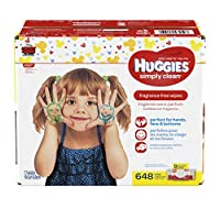 HUGGIES Simply Clean Baby Wipes Unscented Soft Pack 72 Count Pack of 9 (648 Total)