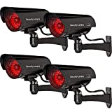 WALI 子弹假冒监控* * 圆顶摄像机室内室外照明 LED 灯 + 警告*警示贴纸 贴花WL-B30-4 30 LED Lights 4 Pack 黑色