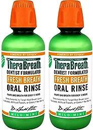 TheraBreath美国凯斯博士清新口气漱口水 温和薄荷味 16盎司(2件装)