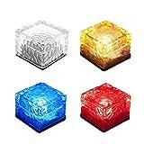 YOUDirect 太阳能 LED 灯 - 防水水晶玻璃砖 LED 夜灯传感器太阳能冰岩灯,适用于花园庭院路径池塘户外装饰 Set of 4(white+blue+red+yellow) 43397-42090