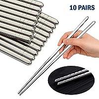 BamLue 10对不锈钢筷子,金属筷子套装,可重复使用,可用洗碗机清洗,经久耐用,防滑设计