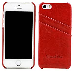 iPhone 5 Case Protection Flip Cover [Credit Card Holder] Luxury Handmade Genuine Leather Wallet Design fit Apple iPhone 5 iPhone 5 5S Case-red