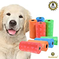 可生物降解狗狗垃圾袋,8 卷替换装 15 个无香型垃圾袋,厚实防漏,适合标准粪便分配器,无香,适合敏感宠物,环保