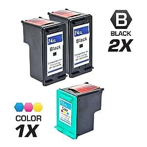 INKUTEN © 改装 HP 74XL CB336WN & HP 75XL CB338WN 组合套装 - 1 个黑色墨盒和 1 个彩色墨盒 2 Black, 1 Tri-Color