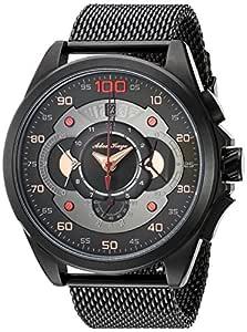 Adee Kaye 男式石英不锈钢正装手表,颜色:黑色(型号:AK8900-MIPB/MESH)
