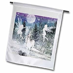 "renderly Yours 冬季圣诞–仙女和独角兽 IN THE SNOW–旗帜 18 x 27"""