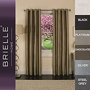 "Brielle 100-Percent Dupioni Real Silk Lined Insulated, Room Darkening and Energy Saving Grommet Panel, 50 by 95"", Steel Grey"