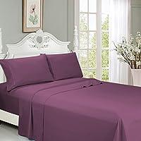 加大双人床床单套装 - 超软凉爽拉绒超细纤维床上用品 45.7cm 深口袋 - 6 件 1 件床笠,1 件床单,4 件枕套(银色双人床) 梅红色 Queen