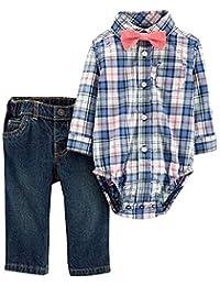 Carter's 男婴 3 件套格子连衣裙套装,带蝴蝶结,12 个月,蓝色/粉色